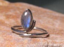 Sterling silver cabochon LABRADORITE ring UK Q/US 8.25. Gift bag.