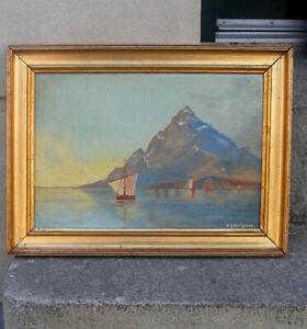 Tavolara island from Porto Taverna beach. Italy. 1880s. Signed.