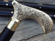 Antique Style Victorian Cane Wooden Walking Stick Vintage Brass Handle Solid