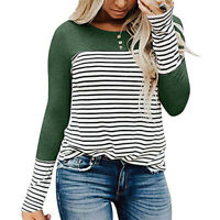 Crew Neck Casual Women Striped Long Sleeve Blouse Lady Girl Button T-Shirt Tops