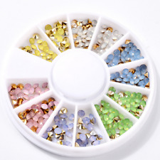 3D Rhinestones Acrylic Glitter Nail Art Tips Studs Manicure Decoration Wheel DIY