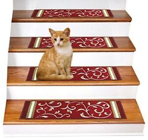 Rugsmart Rubber Backing, Skid-Resistant, Carpet Stair Treads - SET of 7 Red