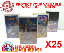 25x VHS MOVIE LARGE CLAMSHELL - CLEAR PLASTIC PROTECTIVE BOX PROTECTORS SLEEVE