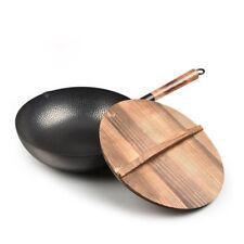 32cm Chinese  Iron Wok Thickening Non Coated Round Bottom Pan Wok  Cooking Pot