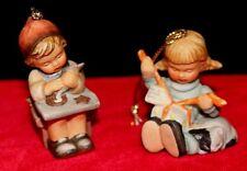 2 Berta Hummel Goebel 1997 Christmas Ornament Little Gift Wrapper, Cookie Maker