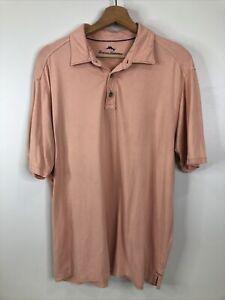 Tommy Bahama Men's Size L Relaxed Salmon Polo Short Sleeve Pima Cotton Shirt
