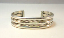 STERLING SILVER DOUBLE WIDE ROPED CUFF BRACELET MARKED TAHE **