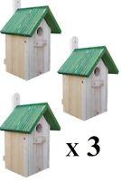 3 xNistkasten  für die Vögel,Nistkästen,Vogelhaus aus Holz, Super-Set, 12-NZ-3