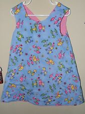 Girl Boutique 2T 3T Reversible Poodle Mermaid Shift Sun Dress Pink Gingham Dog