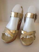 "Calvin Klein Jeans ""New"" Golden Brown Elegant High Wedges Sexy Women Shoes Sz 10"