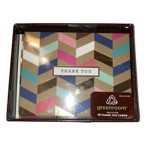 Greenroom Thank You Cards Metallic Craft Pattern, Blank Inside w/ Envelopes 18ea
