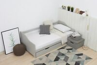 WestWood Grey Single 3ft Day Bed with Trundle Guest Solid Wood Frame Daybed