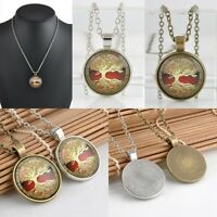 Vintage Celtic Tree of Life Cabochon Glass Bronze Chain Pendant Necklace Fashion