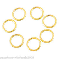 20PCs Stainless Steel Circle Jump Rings Gold Plated Jewelry Findings 9mm GW