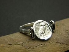 Sterling silver ring with greek coin owl Athena  reversible size 8