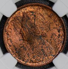 NG0361 British India 1889 C 1/4 Anna NGC MS62 RB