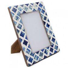 Picture Photo Frame Moorish Moroccan Pattern Bone Handmade Frames 4x6 Inches Blue