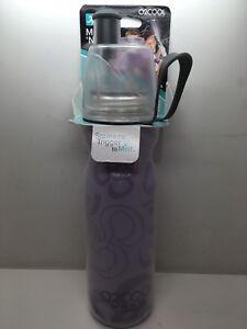 O2Cool Double Wall Mist 'N Sip Water Bottle, Clear with Purple Splash NEW!!