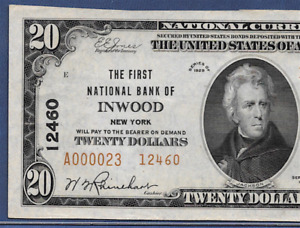 NY 1929  $20 TYPE-2  ♚♚INWOOD,NEW YORK♚♚ PCGS ABOUT NEW 53 PPQ   BEST KNOWN!!