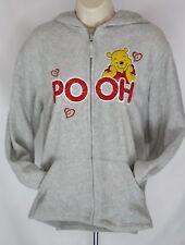 Womens Disney Pooh Fleece Hoodie Sz S Grey LS Kangaroo Front Pocket Full Zip