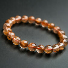 Natural Copper Rutilated Quartz Crystal Wealthy Round Beads Bracelet 8MM AAA