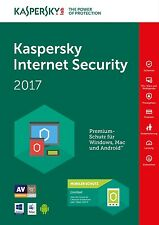Kaspersky Internet Security 2018 1PC 1 anno versione completa Licenza