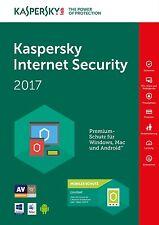 Kaspersky Internet Security 2017 1PC/Gerät 1Jahr Vollversion Lizenz Key Download