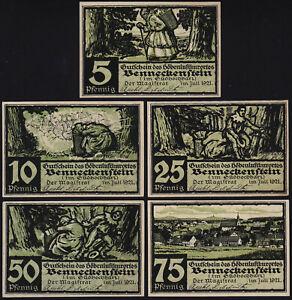 1921 Benneckenstein Germany Notgeld Lot 5 Rare Emergency Money Banknote Complete