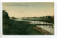 Cape Cod Wareham MA Mass River below Parker Mill, bridge, tiny cottages, 1909