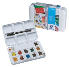 Royal Talens - Van Gogh Watercolour 12 Half Pan Pocket Box Set with Brush