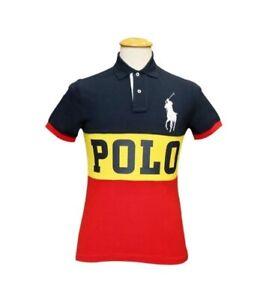 Ralph Lauren Custom Slim Fit Polo Shirt BNWT size XL Navy Yellow Red Big Pony