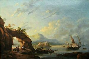 Tableau ancien huile sur toile marine bord de mer animé bateaux pêcheurs XIXème