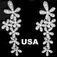 US Seller Betsey Johnson Crystal Flower Earrings Gold Silver Blue snowflakes