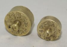 Greece Antique Brass Balance Scale Weights 100 & 200 grams w/1967-1972 stamps