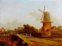 evt.rückseitig unleserlich signiert, antikes Holland -Gemälde: MÜHLE UND BRÜCKE