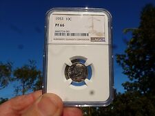 1953 10 Cents Silver Proof Roosevelt Dime NGC PF- 66 A Beauty