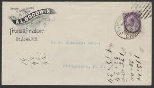 1899 Goodwin Fruit Advertising Cover, St John NB Canada Duplex