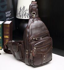 Men Genuine Leather Real Vintage Travel Messenger Shoulder Sling Pack Chest Bag