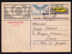 SWITZERLAND 1938  STATIONERY CARD TO FRANCE TRAVELLING P.O.
