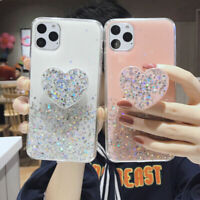 Bling Glitter Epoxy Love Heart Holder Case Cover for iPhone 11 Pro XS Max 7 8 12