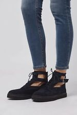 TOPSHOP WOMENS FLAT BOOTS BLUE LEATHER CUTOUT BOOTIES SIZE UK4 EUR37 US6.5