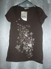BNWT Ladies Brown T-shirt with Flower Print to Front ~ Size 8 ~ Cherokee