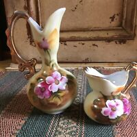2 Vintage Enesco Pitchers/Vases, E 2350 & E 2359, Porcelain Gold W/Trim Handles