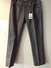 NOTIFY Italy NEW $380 Gloss Finish, Silver Grey Stretch Cotton Mix Jeans 29in