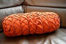 Vintage 50's Bolster Pillow Dark Orange Rust Corduroy Button Clean