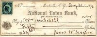 NATIONAL UNION BANK OF MONTICELLO NY,REVENUE STAMP,1876,CHECK