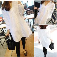 Korean Womens Long Sleeve V-neck Lapel Loose Casual Career Tops Blouse T-shirt