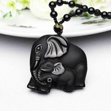 Chinese Natural Obsidian Hand-Carved Lucky Elephant Black Necklace Pendant Beads