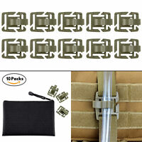 10 Pcs OD Green Mlitary Tube Pipe Clip Holder in Zippered Bag for Molle Webbing