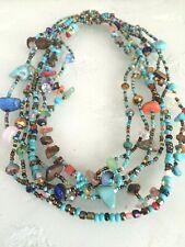 "18"" Czech Glass Bead TURQUOISE MULTI-COLOR Cascade Strand Bead Collar NECKLACE"